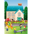 Children playing in the neighborhood park vector image vector image