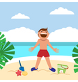 Funny kids on the beach Happy boy sunbathing and vector image