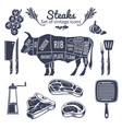 steaks vintage style icons set vector image