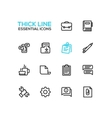 Business Office - Thick Single Line Icons Set vector image