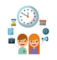 business people time watch work employee vector image