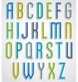 Colorful cartoon font slim comic upper case vector image