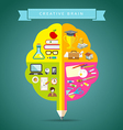 Creative Brain concepts design with business icons vector image