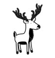 deer cartoon with black sections silhouette with vector image