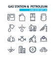 gas station lined icons set vector image