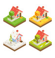 isometric house 3d icon real estate symbol meadow vector image