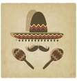 Mexican sombrero old background vector image