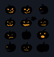 Pumpkin icons with scary faces vector image