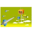 Rocket moving toward television vector image