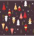 seamless night forest trees pattern vector image