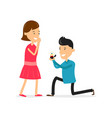 Man makes marriage proposal to girlfriend vector image