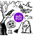Halloween Hand Drawn Set vector image