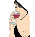 Beautiful woman drinking wine vector image