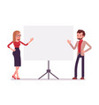 businessman and businesswoman at the presentation vector image