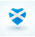 Flag of Scotland in shape diamond glass heart vector image
