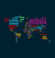 text world map country name typography design vector image