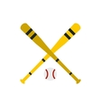 Baseball ball and bat icon flat style vector image