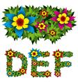 flowers alphabet 02 vector image