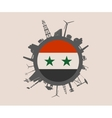 Circle with industrial silhouettes Syria flag vector image