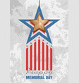 memorial day card gold star on a concrete slab vector image