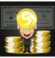 happy man and stack of big golden dollar coins vector image