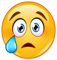 crying face emoticon vector image vector image
