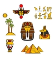 Egypt travel and culture icons vector image vector image