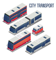Isometric City Transportation Bus Set vector image