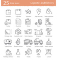 Transportation logistics and delivery linear style vector image vector image