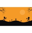 Halloween scary zombie silhouette vector image