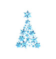 abstract blue watercolor christmas tree vector image