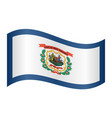 flag of west virginia waving on white background vector image