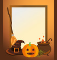 halloween photo frame with traditional symbols vector image
