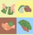 human hands holding money vector image