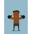 Powerful athlete doing exercises with kettlebells vector image