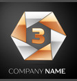 number three logo symbol in the colorful hexagon vector image