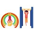 boy and girl climbing hanging on monkey bars at vector image
