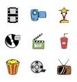 3d cinema icons set cartoon style vector image