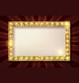golden frame on the background of the curtain vector image