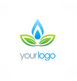 ecology green leaf water drop logo vector image