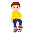 boy cartoon playing soccer vector image
