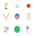 Cricket icons set flat vector image