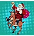 Santa Claus with gifts Christmas reindeer Rudolf vector image