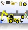 service and diagnostics backhoe loader vector image