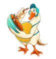 Funny goose are blending a chocolate sweet vector image