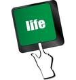 Life key in place of enter key - social concept vector image