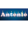 ANTONIO written with burning candles vector image