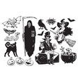 big set of halloween objects vector image