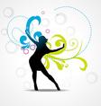Girl dancing background vector image
