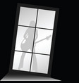 girl figure silhouette with guitar front of window vector image